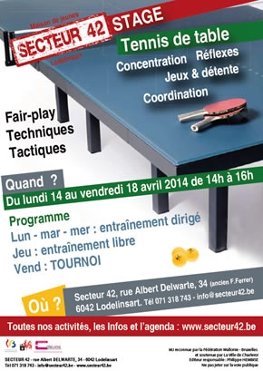 STAGE TENNIS DE TABLE DU 14 AU 18 AVRIL 2014